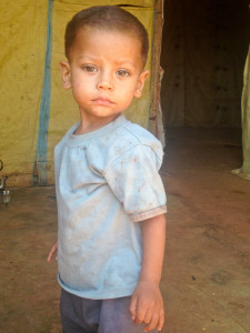 A small boy in the refugee camp in the Bekka Valley