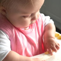 baby sitting in highchair, picking up a piece of banana, wearing pink bib
