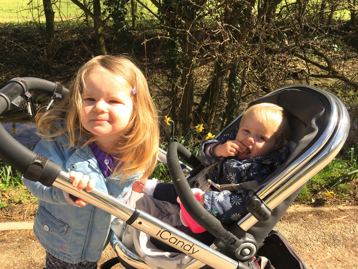 sisters, one sitting in buggy, the other stnading on a buggy board